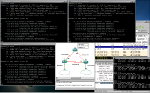 Image showing the three router's consoles, GNS3, the VPCS console, and Wireshark.