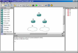 Image showing 3 routers and two cloud devices added to GNS3.